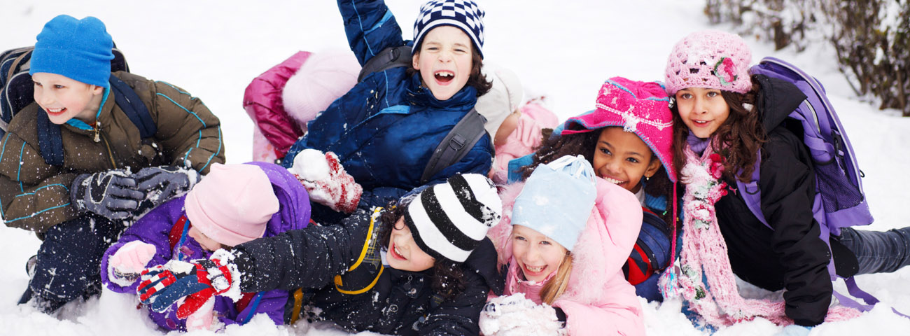 Children playing on snow.